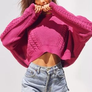 UO BDG Pink Slouchy Cable Knit Sweater